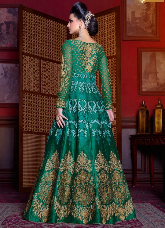 Green Silk Floor Length Anarkali  5204 By Swagat NX