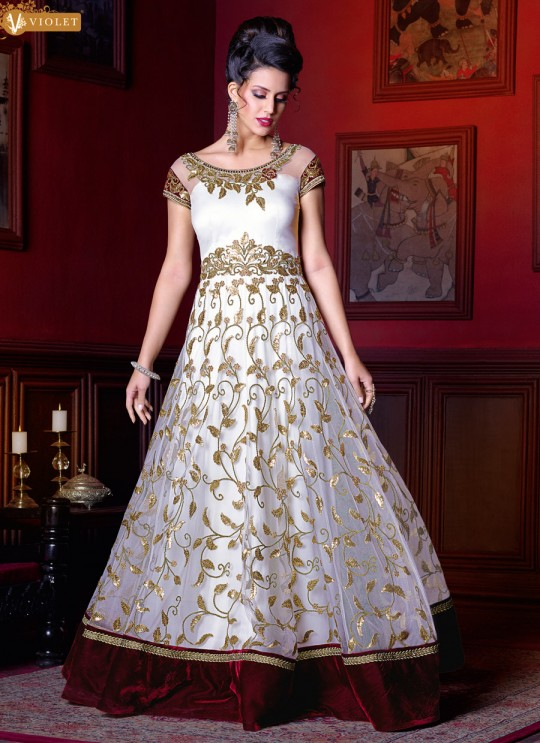 Off White Net Floor Length Anarkali  5209 By Swagat NX