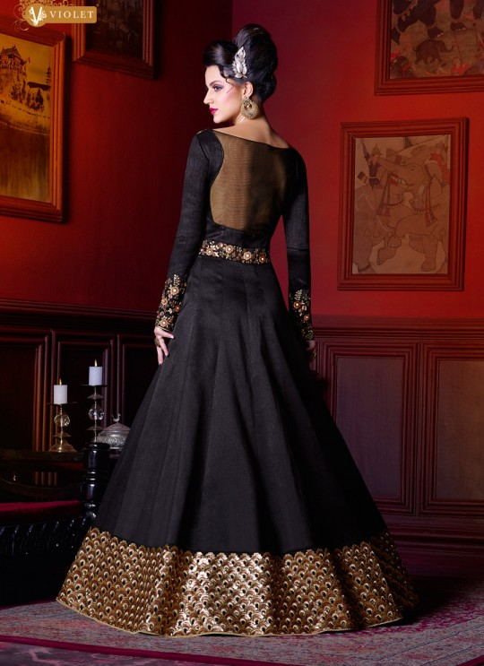 Black Silk Gown Style Anarkali  5211 By Swagat NX
