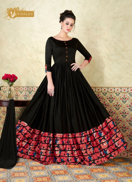 Black Modal Satin Gown Style Anarkali Suit  5301 By Swagat NX