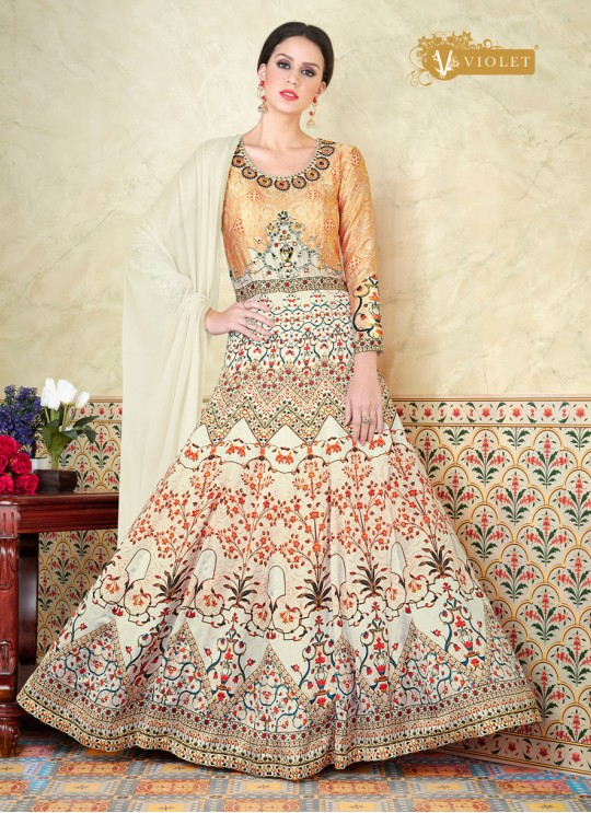 Cream Modal Satin Gown Style Anarkali Suit  5303 By Swagat NX