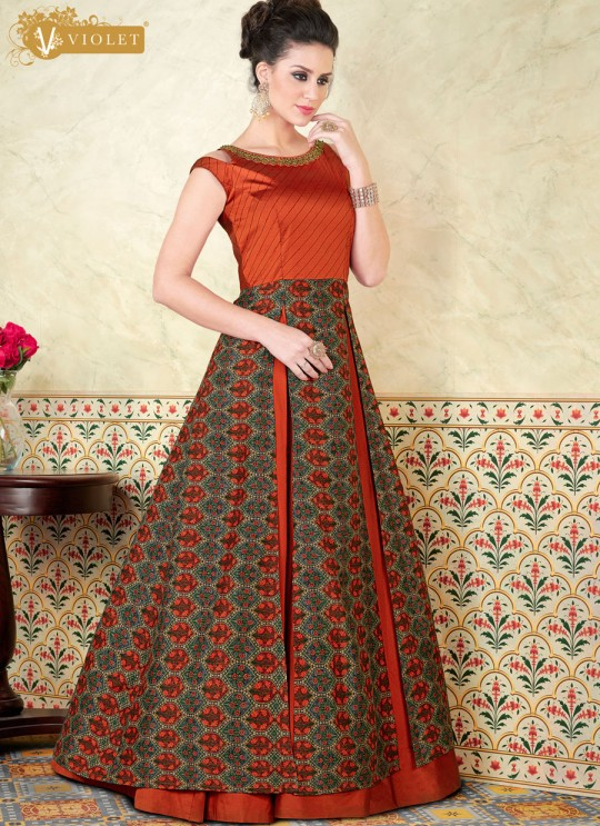 Orange Tussar Silk Gown Style Suit  5304 By Swagat NX