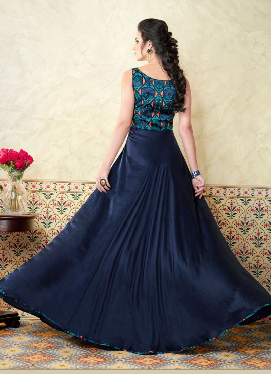 Blue Modal Satin Gown Style Suit  5311 By Swagat NX