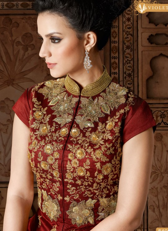 Maroon Art Silk Floor Length Salwar Suit  5401 By Swagat NX