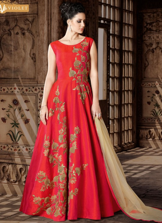 Crimson Red Art Silk Gown Style Suit  5404 By Swagat NX
