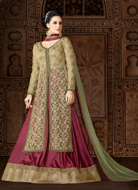 Beige, Cherry Net Designer Suit  5410 By Swagat NX