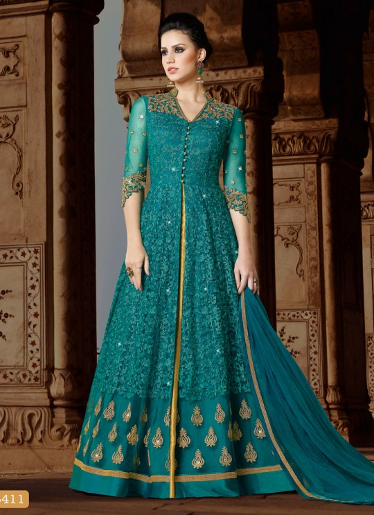 Blue Net Gown Style Suit  5411 By Swagat NX