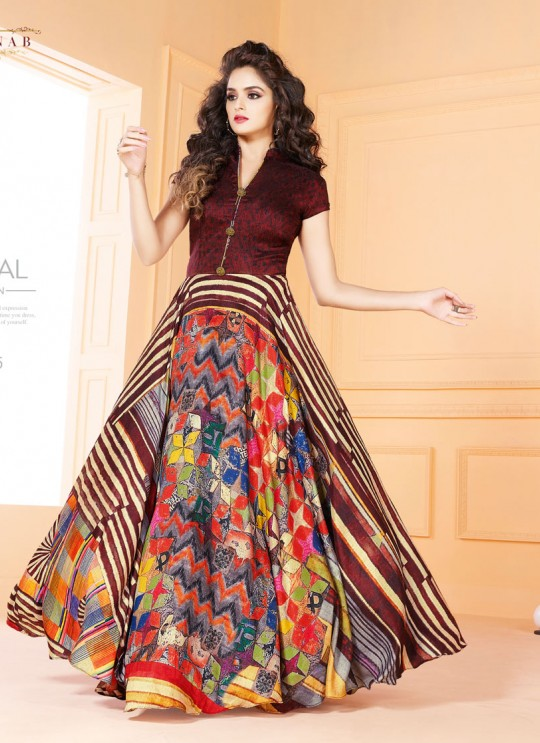 Multicolor Art Silk Gown Style Suit  5505 By Swagat NX