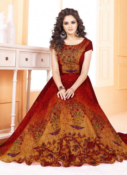 Multicolor Art Silk Gown Style Suit  5507 By Swagat NX