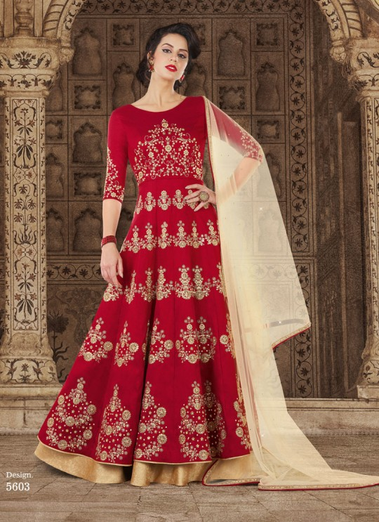 Red Silk Floor Length Anarkali  5603 By Swagat NX