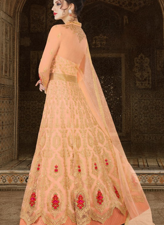 Peach Net Floor Length Anarkali Suit  5607 By Swagat NX