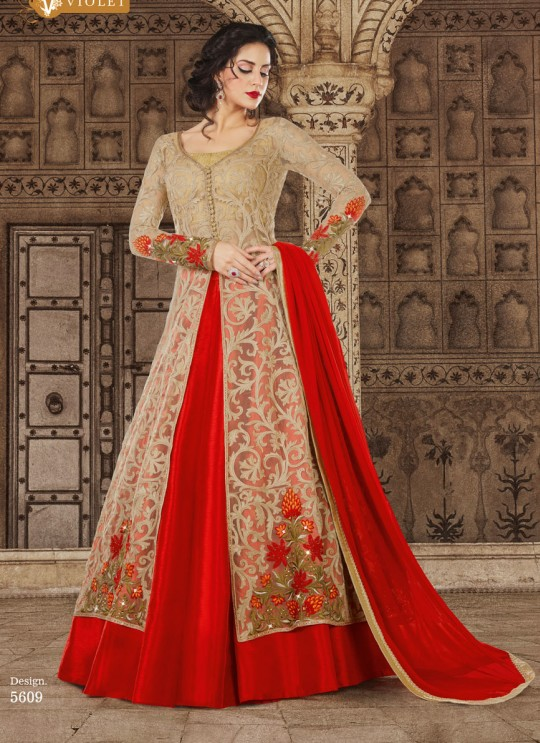 Red, Gold Net Pant Style Suit  5609 By Swagat NX