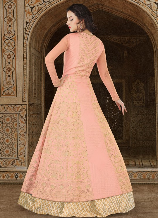Peach Silk Floor Length Suit  5610 By Swagat NX