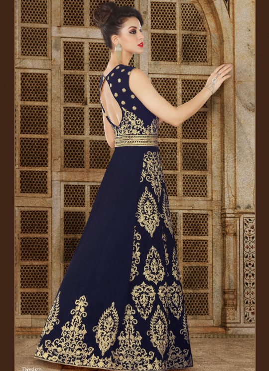 Blue Velvet Gown Style Suit  5611 By Swagat NX