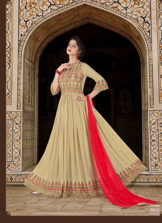 Beige Modal Satin Anarkali Suit  5612 By Swagat NX