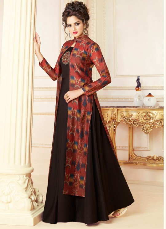 Brown Chanderi Gown Style Suit  5701 By Swagat NX
