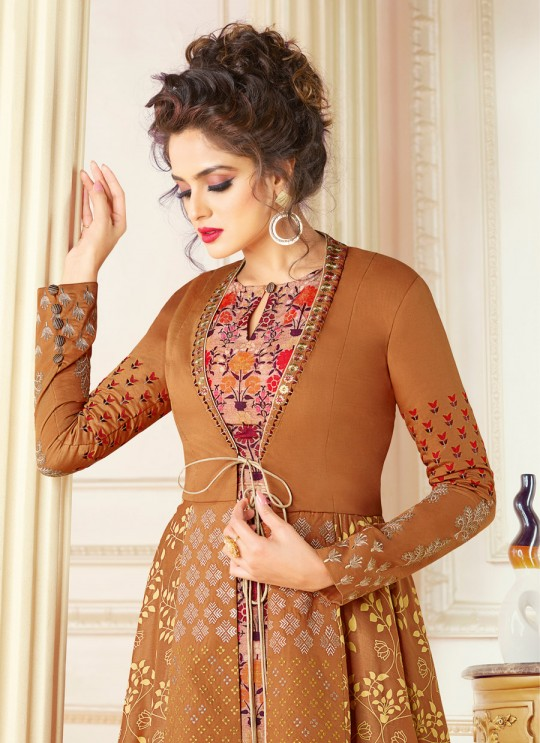 Orange Chanderi Gown Style Suit  5702 By Swagat NX