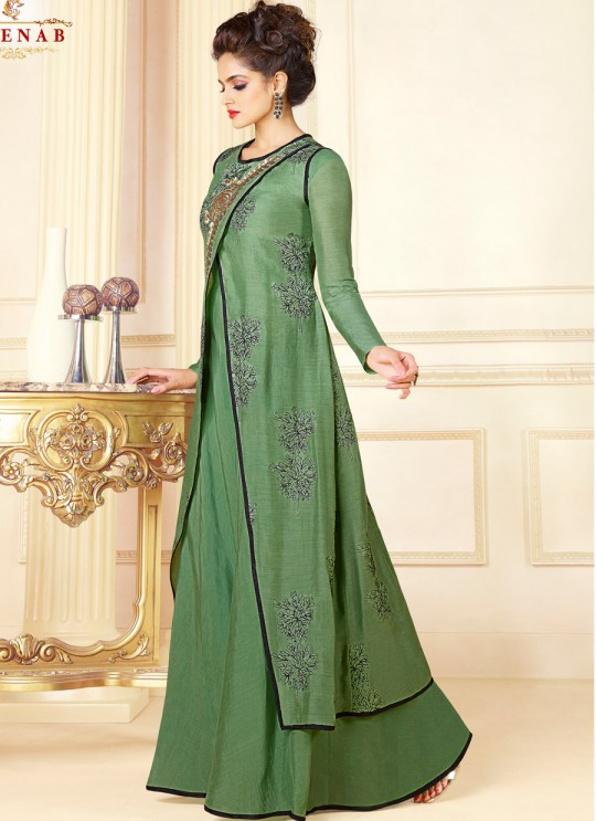 Green Art Silk Gown Style Suit  5704 By Swagat NX