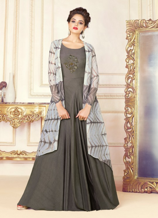 Multicolor Chanderi Gown Style Suit  5706 By Swagat NX