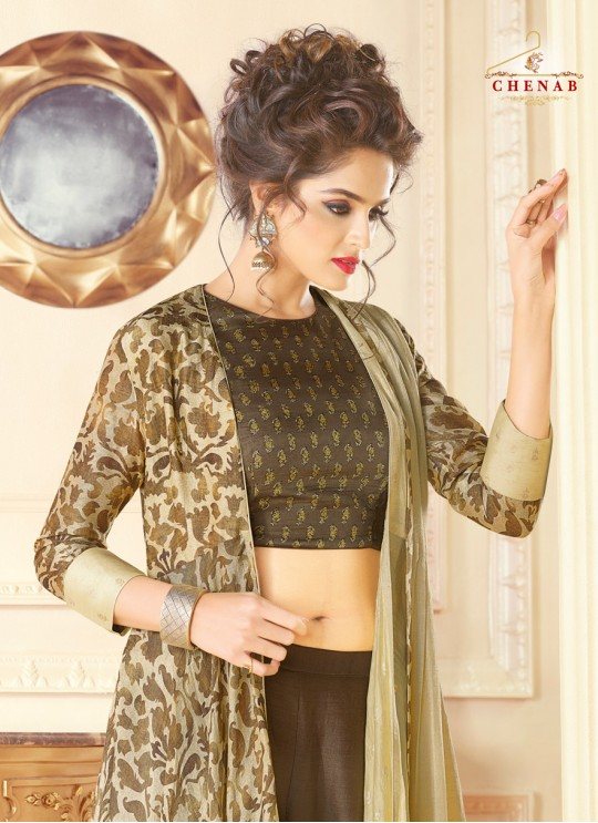 Brown Art Silk Gown Style Suit  5707 By Swagat NX