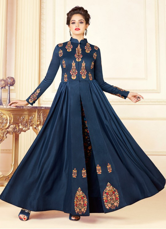 Blue Art Silk Gown Style Suit  5708 By Swagat NX