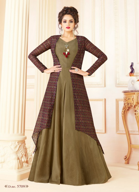 Brown Chanderi Gown Style Suit  5709 By Swagat NX