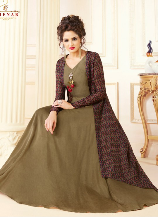 Brown Chanderi Readymade Kurti Size 5709 By Swagat NX