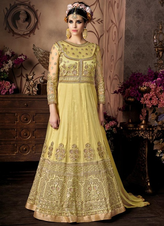 Yellow Net Anarkali With Cape Cop Sybella-101