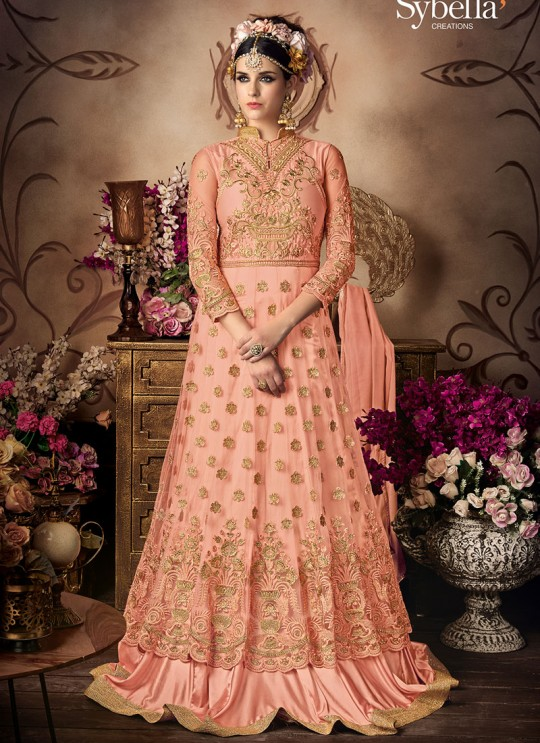 Peach Net Gown Style Anarkali Sybella-102