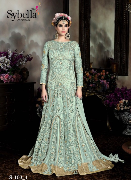 Ice Blue Satin Gown Style Anarkali Sybella-103-1