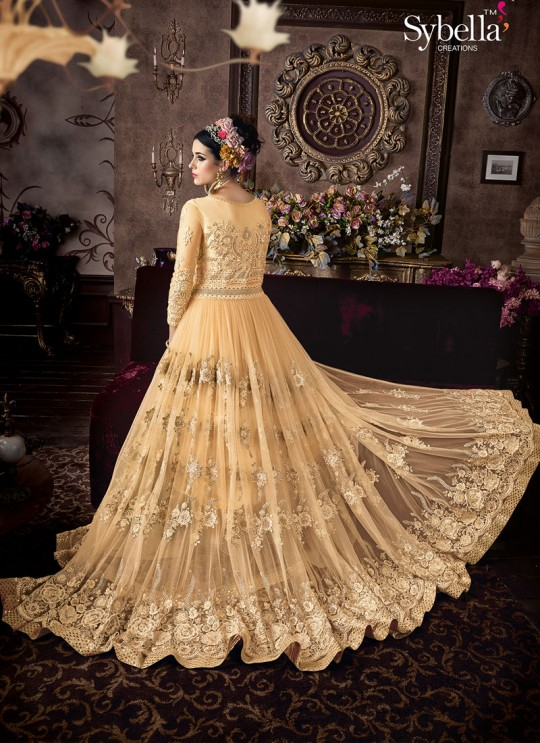 Yellow Net Gown Style Anarkali Sybella-106
