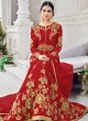 Red Silk Floor Length Anarkali Sybella-201