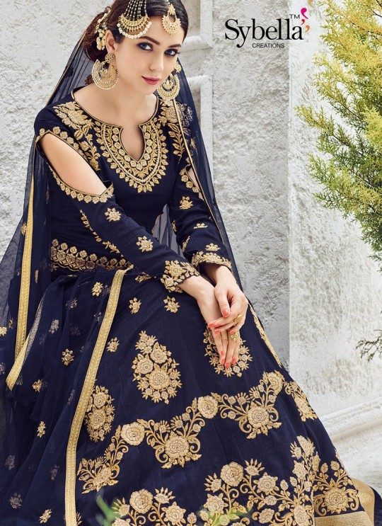 Blue Silk Floor Length Anarkali Sybella-203