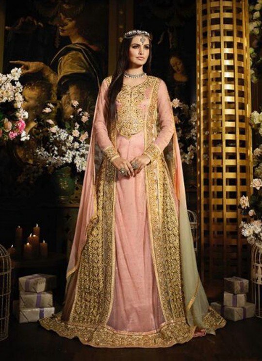Peach Net Floor Length Anarkali Sybella-41