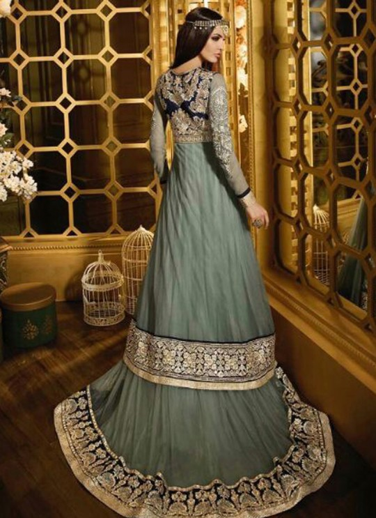 Grey Net Floor Length Anarkali Sybella-44