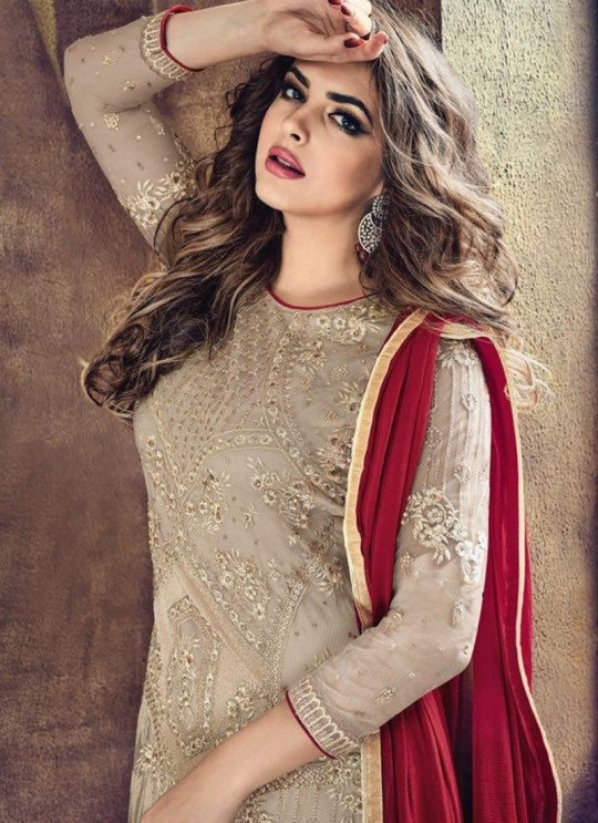 Beige N Red Net Palazzo Suit Sybella- 501