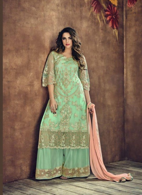 Green Net Palazzo Suit Sybella-502