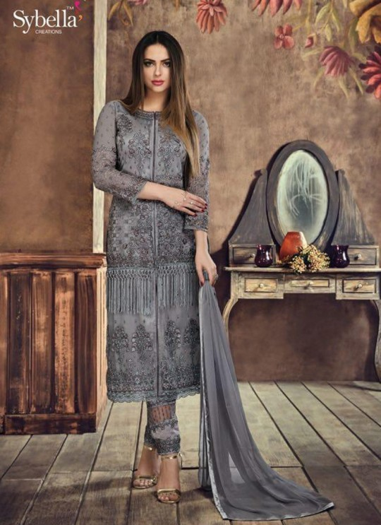 Grey Net Pant Style Suit Sybella-504