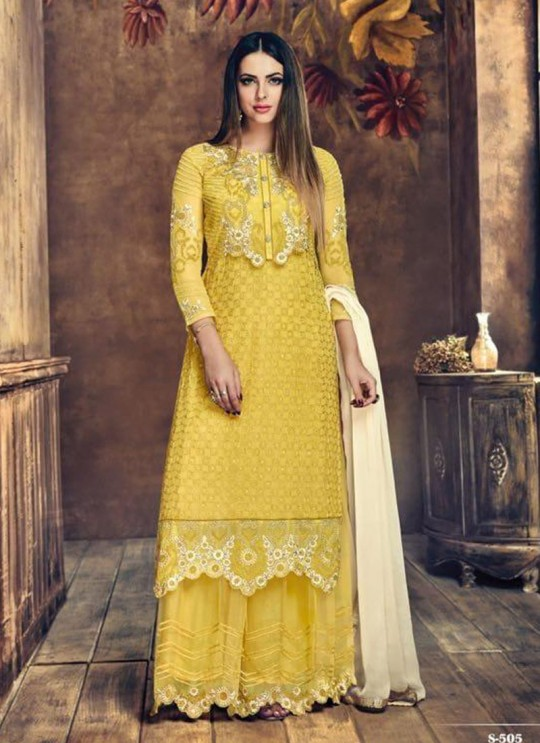 Yellow Georgette Palazzo Suit Sybella-505