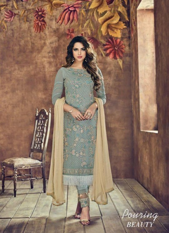 Ice Blue Net Pant Style Suit Sybella-506