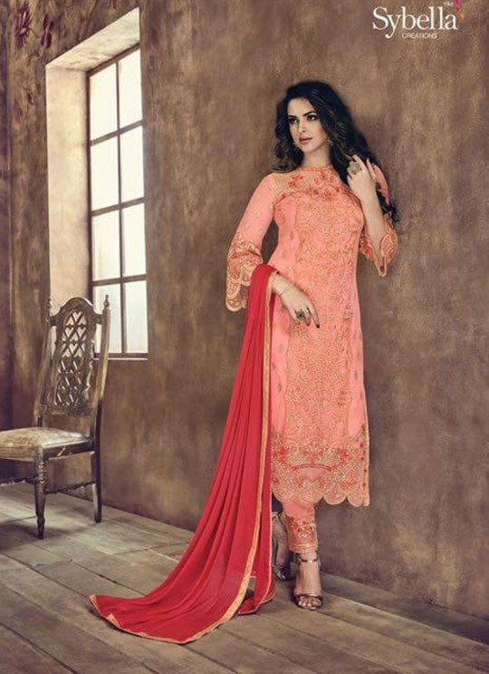 Pink Net Pant Style Suit Sybella-507
