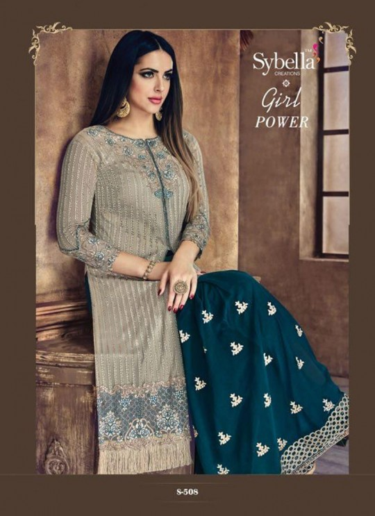 Blue N grey Net Palazzo Suit Sybella-508