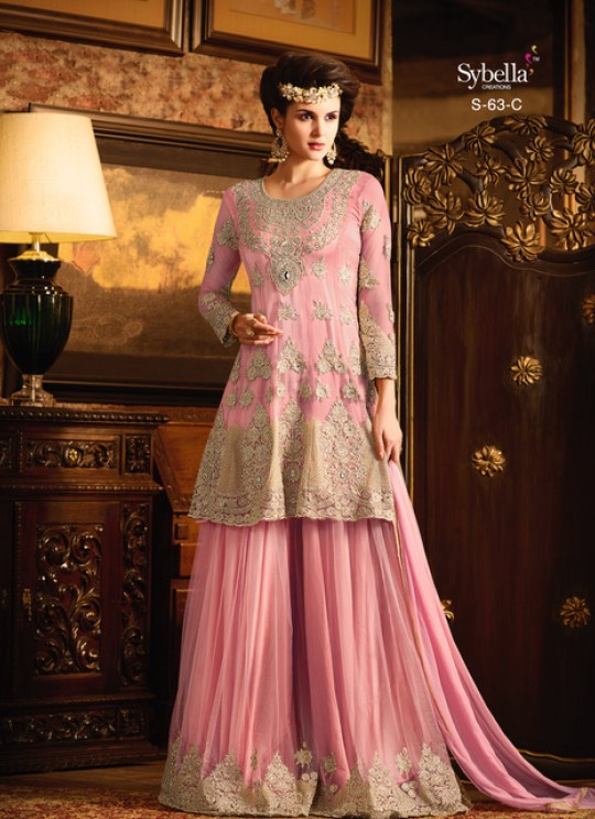 Pink Net Palazzo Suit Sybella-63C PINK