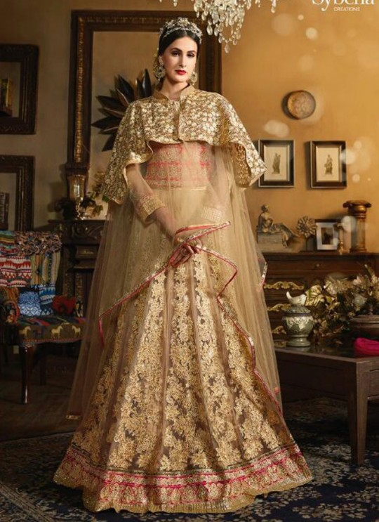Gold Net Anarkali With Cape Cop Sybella-71