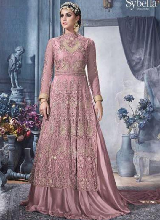 Pink Net Gown Style Anarkali Sybella-84