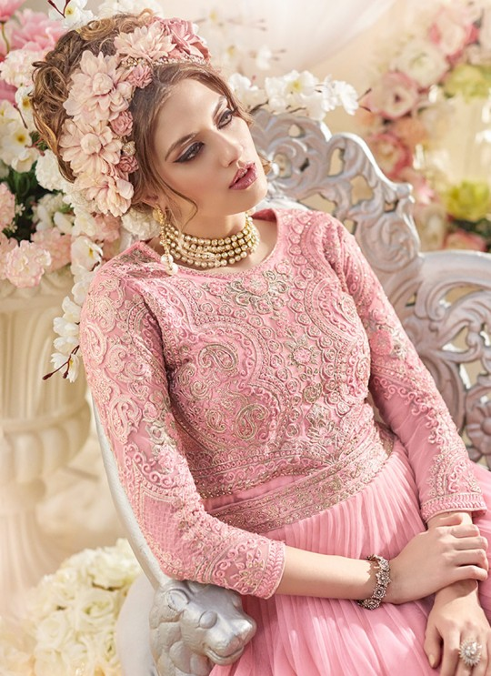 Pink Net Gown Style Anarkali Sybella-91