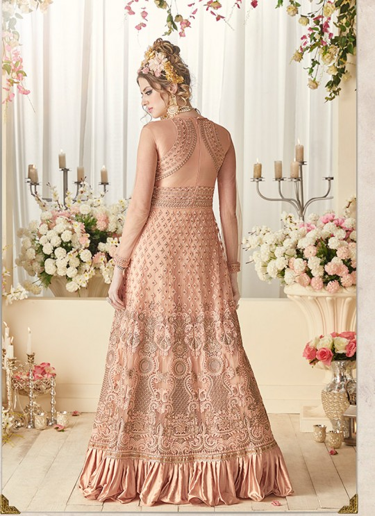 Peach Net Floor Length Anarkali Sybella-93