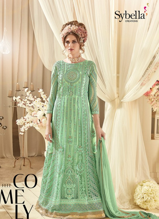 Green Net Floor Length Anarkali Sybella-94