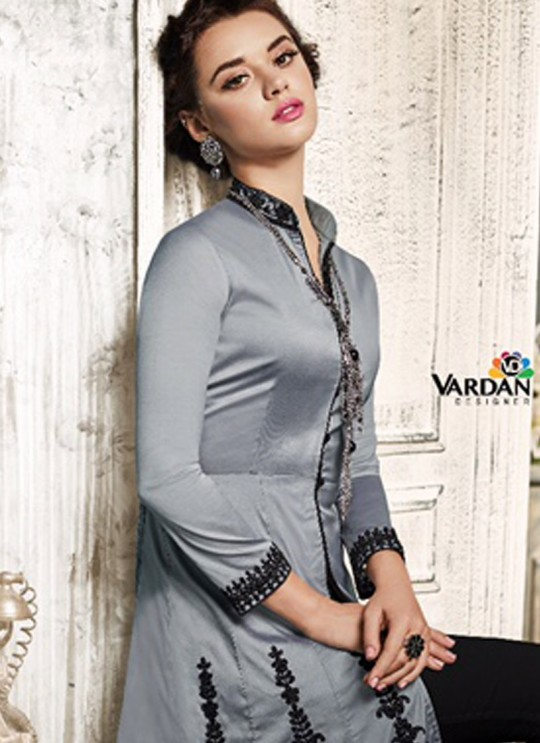 Grey Art Silk Skirt Kameez Navya Vol-2 111 By Vardan