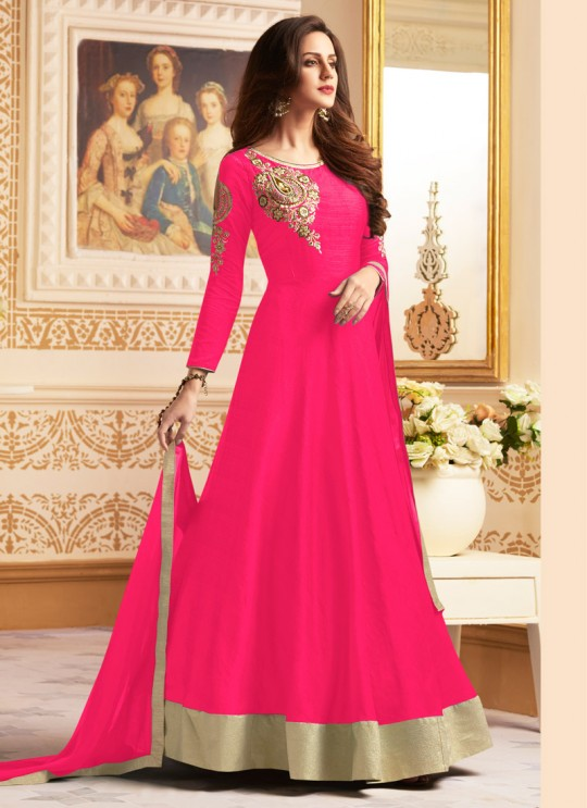 Pink Banglori Silk Floor Length Anarkali Navya Vol-5 142D Color By Vardan